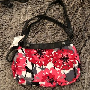Fabric floral shoulder bag. Brand thirty one.